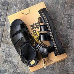 Женские кожаные сандали Dr. Martens Sandals Black (черные)