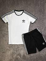 Спортивный костюм летний Adidas мужской черно-белый | Комплект Шорты + Футболка Адидас Премиум качества