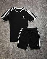 Спортивный костюм летний Adidas мужской черный | Комплект Шорты + Футболка Адидас Премиум качества