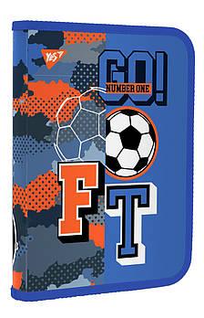 Школьная папка для тетрадей пластиковая на молнии YES В5 Football 27х19см Синяя (491796)