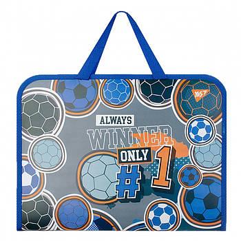 Школьная папка-портфель на молнии с тканевыми ручками YES Football 26х35см Серая (491789)