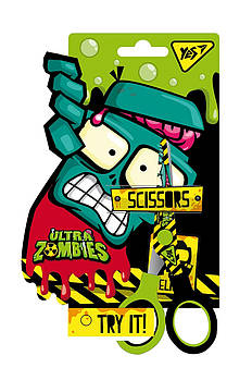 Детские ножницы для школы с принтом на лезвии  YES 13см Zombie Разноцветные (480393)