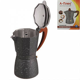 Кофеварка гейзерная 390 мл алюминиевая A-PLUS 2086