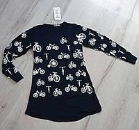Туника-платье  для девочек с длинным рукавом Велосипед 140-164 рост