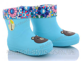 Резиновые сапоги галоши для девочки с подкладкой голубые