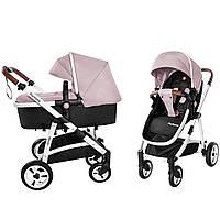 Универсальная коляска-трансформер 2в1 розовая на белой раме с дождевиком Carrello Fortuna 9001/1 от рождения
