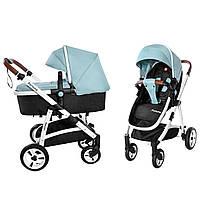 Универсальная коляска-трансформер 2в1 голубая на белой раме с дождевиком Carrello Fortuna 9001/1 от рождения