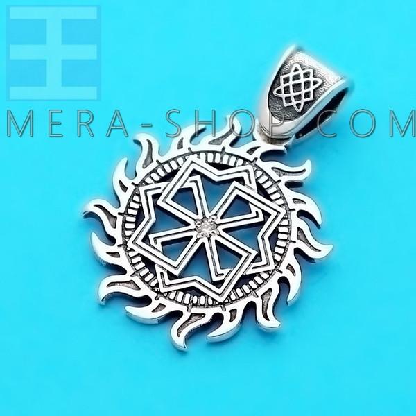 Молвинец со Звездой Руси серебряный славянский оберег с камнем, кулон из серебра 925 пробы (30 х 22 мм, 3.7 г)