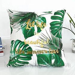 Декоративная подушка велюровая с тропическим принтом и  золотистыми элементами