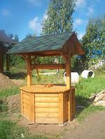 Домик на колодец 6 гранный, снизу с блок-хаусом , с воротом и черепицей
