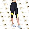 Женские спортивные бриджи черные с желтыми вставками размеры от 42 до 52, фото 2