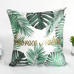 """Декоративная подушка велюровая с тропическим принтом """"Embrace nature"""" и  золотистыми элементами"""