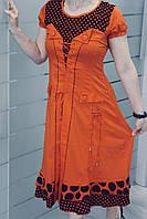 Платье летнее с принтом с горошками. Стильный корсет и яркие цвета