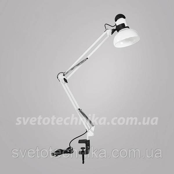 """Настольная лампа на струбцине """"Белый""""  Е27."""