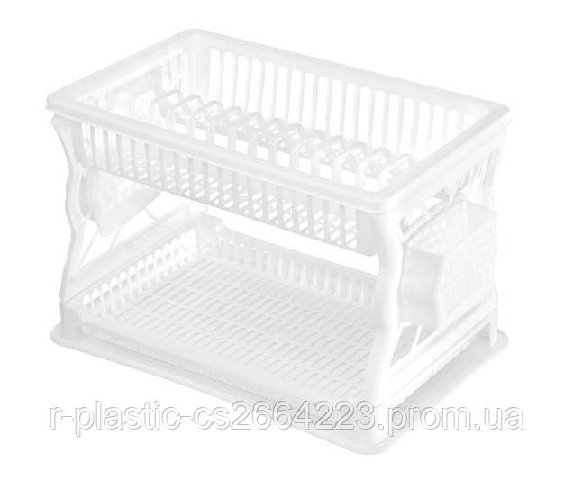 Сушка для посуды R-Plastic 2 яруса 43*29*27,5см белая