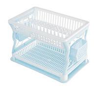 Сушка для посуды R-Plastic 2 яруса 43*29*27,5см голубая