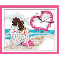 """Вышивка крестиком """"Часы. Любовь у моря"""" 40х34см G099"""