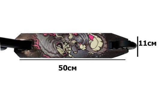 Самокат трюковый с алюминиевыми колесами 100мм черный с принтом. Самокат трайк + Подарок, фото 2