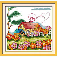 """Вышивка крестиком """"Сельский домик"""" 34х33см K062"""