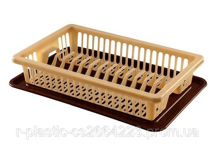 Сушка для посуды R-Plastic 1 ярус 43*29*8см бежевая