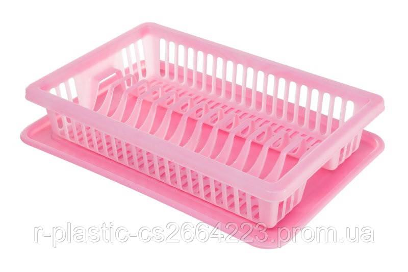 Сушка для посуды R-Plastic 1 ярус 43*29*8см розовая