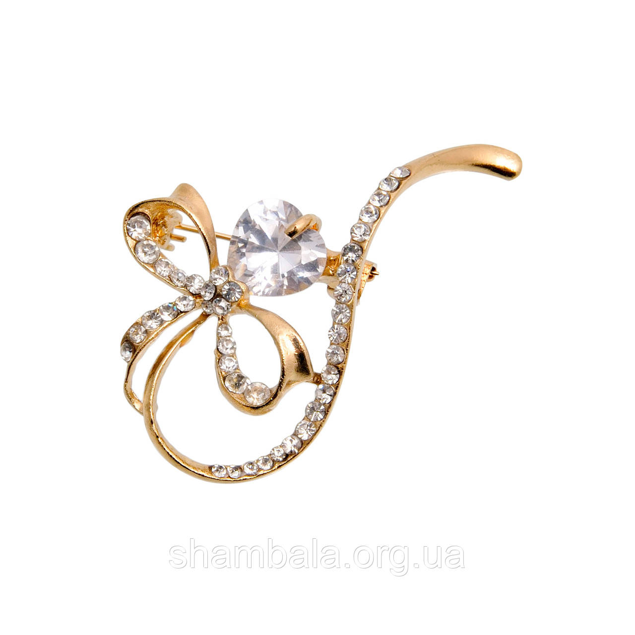 """Брошь Fashion Jewerly """"Bow with a pearl"""" (007595)"""