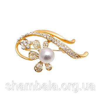 """Брошка Fashion Jewerly """"Twig with a pearl"""" (045832)"""