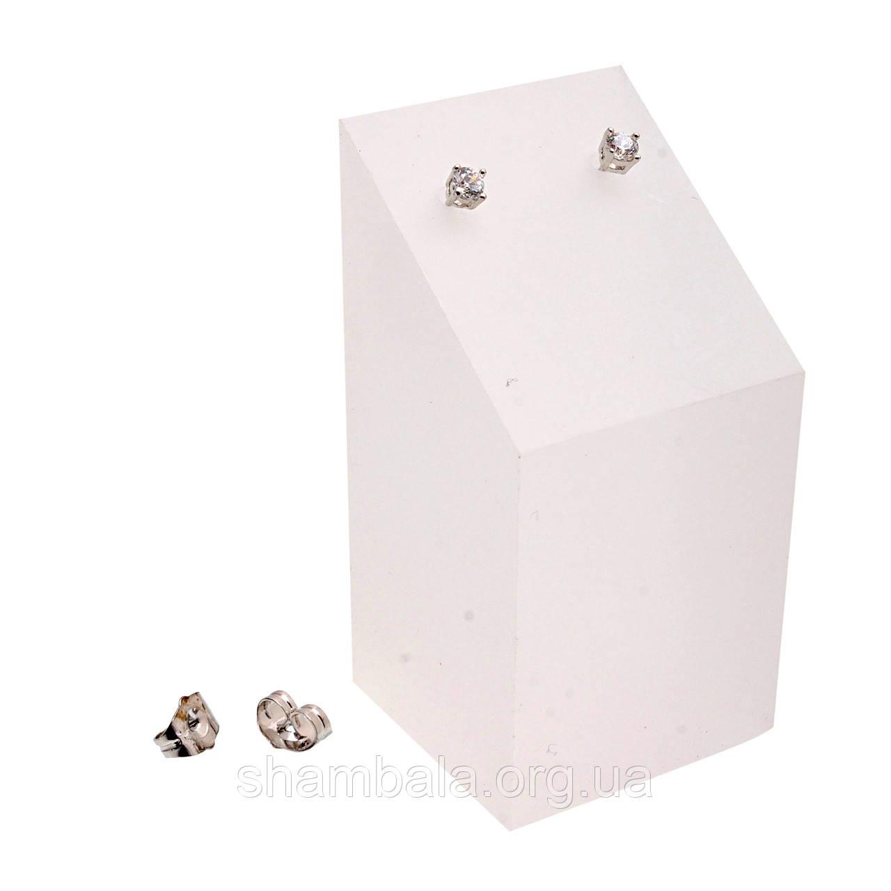 """Серьги-гвоздики Xuping Jewelry """"Гвоздики с камнем"""" серебро (045108)"""