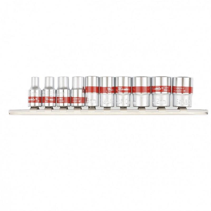 Набор торцевых головок 1/4 двенадцатигранные CrV  10 шт  4-13 мм Mtx 13594