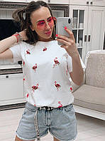 Классная яркая футболочка Фламинго