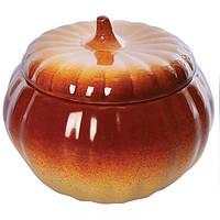"""Кастрюля-тыква с крышкой для запекания керамика """"Ethno Organic"""" 500мл 10.5*6.5см"""