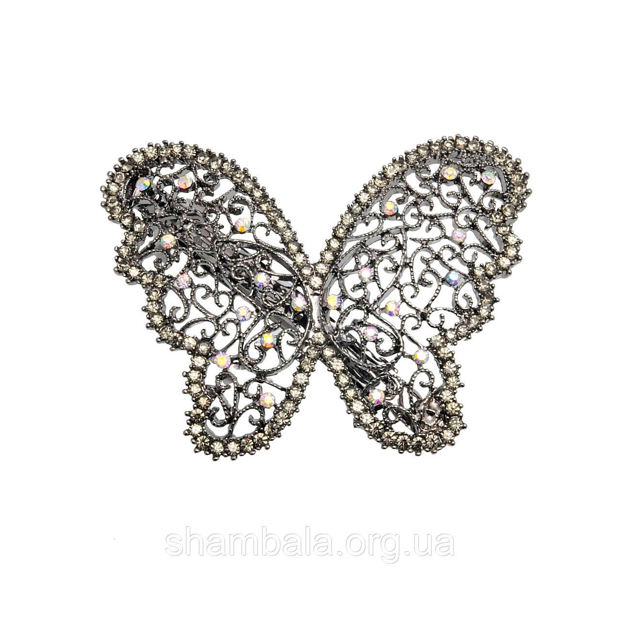 "Заколка-автомат ""Бабочка"" темное серебро (071572)"
