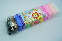 Моделин, Чудо пластилин для детей, застывает и стает каучуковый, набор 12 шт, 10 г пакетик
