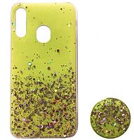 Чехол силиконовый для Samsung Galaxy M20 М205 блёстки+popsoket желтый (Самсунг М20)