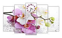 Большая Модульная картина с часами Красивая орхидея 30х70 30х80 30х90 30х80 30х70 см