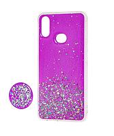 Чехол силиконовый для Samsung Galaxy M20 М205 блёстки+popsoket розовый (Самсунг М20)