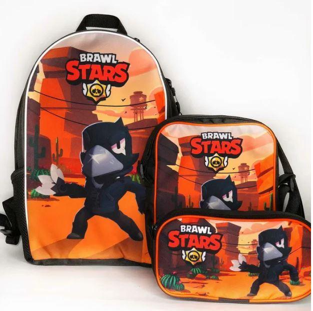 Набор 3 в 1: рюкзак, сумка и пенал с героями Brawl Stars / Бравл Старс Ворон