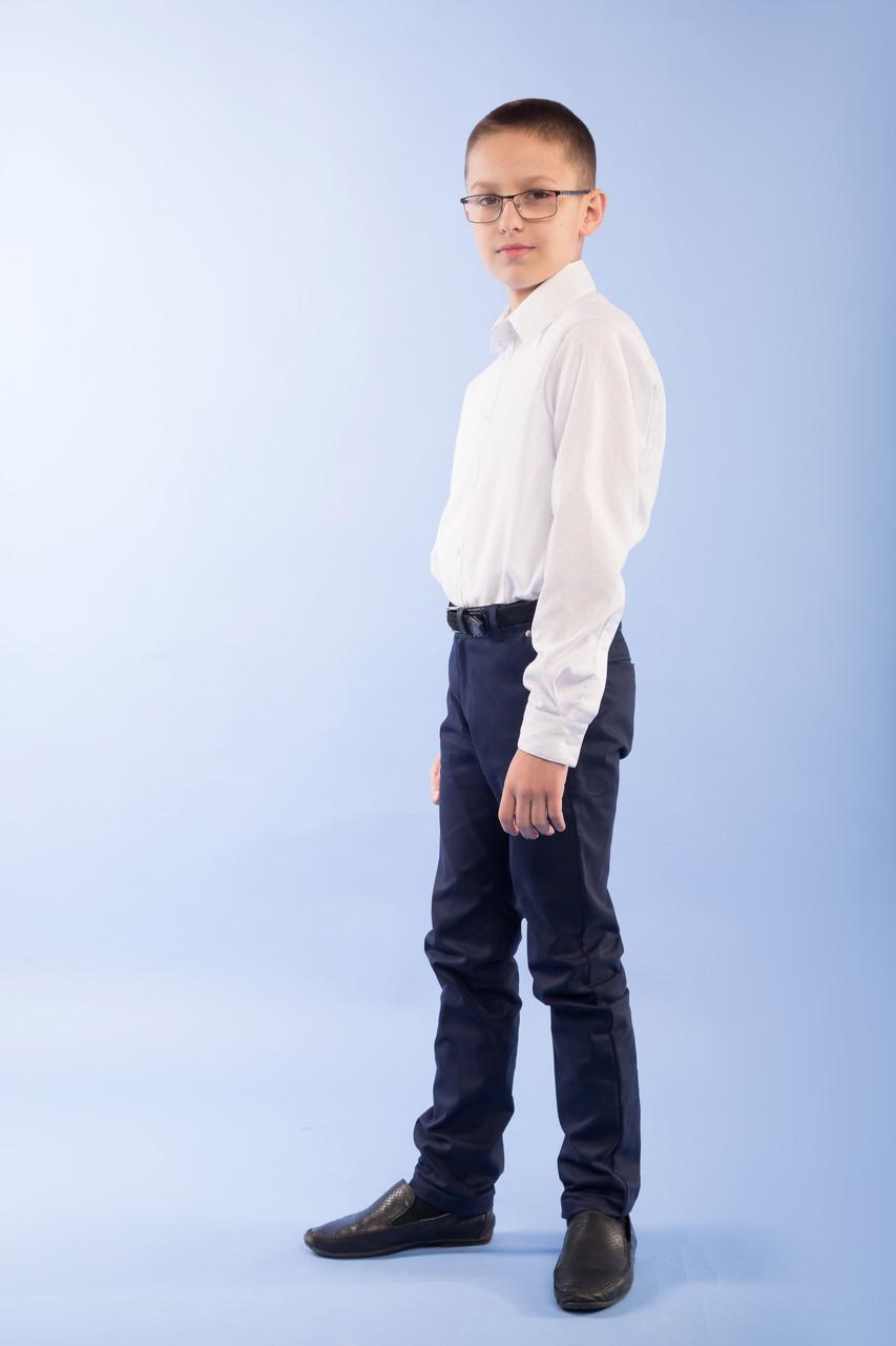 Рубашка для мальчика р.128,134,140,146 с длинным рукавом SmileTime на кнопках Points, белая (ШКОЛА)