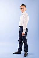 Рубашка для мальчика р.128,134,140,146 с длинным рукавом SmileTime на кнопках Points, белая (ШКОЛА), фото 1