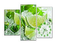 Красивая Модульная картина с часами Лайм и лед 30х50 30х70 30х60 см