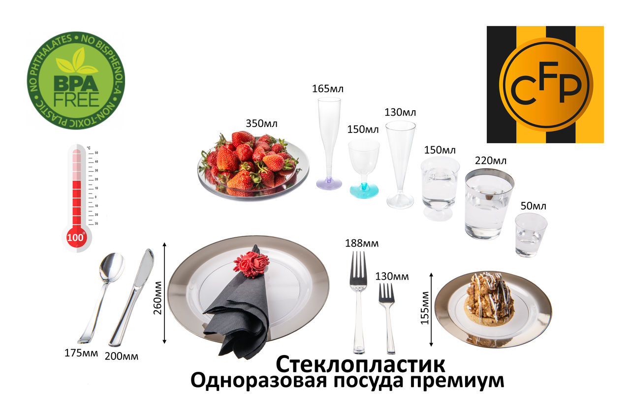 Посуда Capital For People пластиковая одноразовая плотная для вечеринки. Полная сервировка стола 96 шт 6 чел