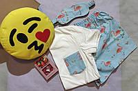 """Подарочный женский набор с пижамой, маской для сна, подушкой Emoji и свечами в коробке """"С днем рождения"""""""