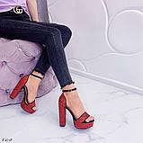 Женские босоножки красные на устойчивом каблуке 14 см, супер колодка, фото 2