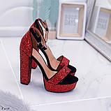 Женские босоножки красные на устойчивом каблуке 14 см, супер колодка, фото 3