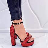 Женские босоножки красные на устойчивом каблуке 14 см, супер колодка, фото 4