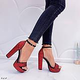Женские босоножки красные на устойчивом каблуке 14 см, супер колодка, фото 5