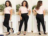 Модные женские деловые брюки на резинке размеры батал 50-54 арт 256