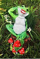Фигура садовая Жаба на пне, 33 см