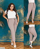 Натуральные летние женские брюки из льна с высокой посадкой размеры батал 48-58 арт 4082