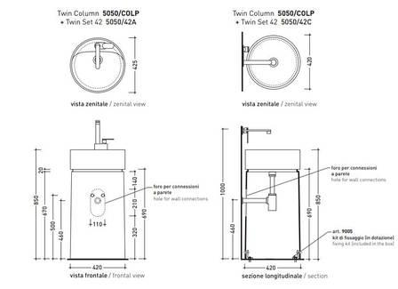 Напольная раковина Flaminia Twin Column antracite 5050/COLP+5050/42A, фото 2